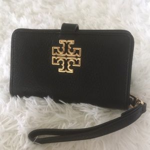 Tory Burch Black Pebbled Leather Wristlet/Wallet.